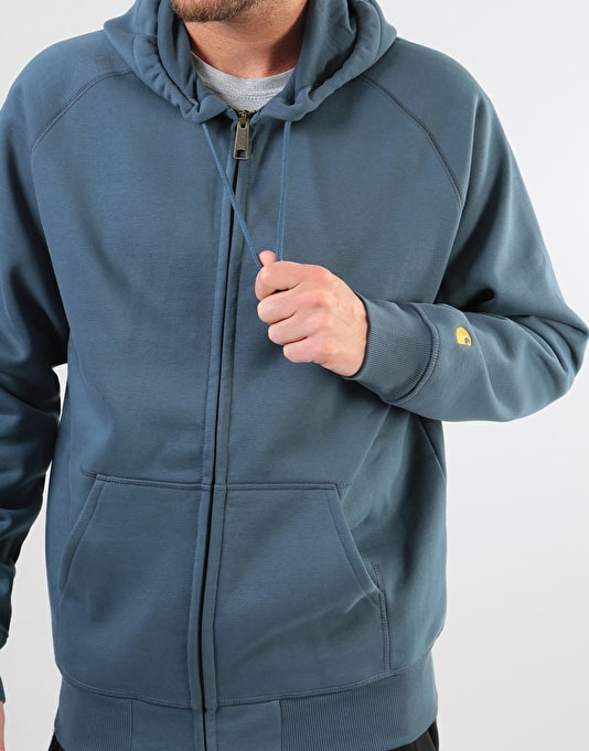 Carhartt Hooded Chase Jacket - Stone Blue/Gold