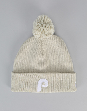 New Era Philadelphia Phillies Lightweight Felt Bobble Beanie - Beige