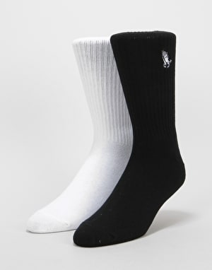 Santa Cruz Pray Socks 2 Pack - Black/White