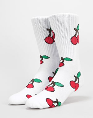 Route One Cherries Crew Socks - White