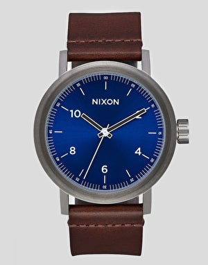 Nixon Stark Leather Watch - Blue Sunray/Brown