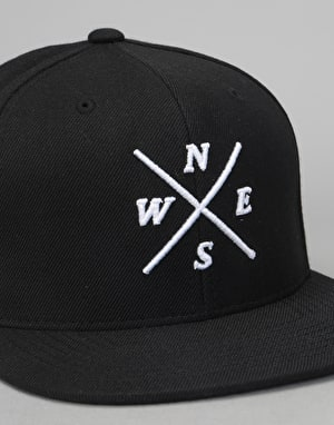 Route One Four Corners Snapback Cap - Black