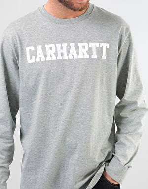 Carhartt L/S College T-Shirt - Grey Heather/White