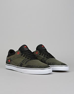 Emerica Hsu Low Vulc Skate Shoes - Green/Black/White