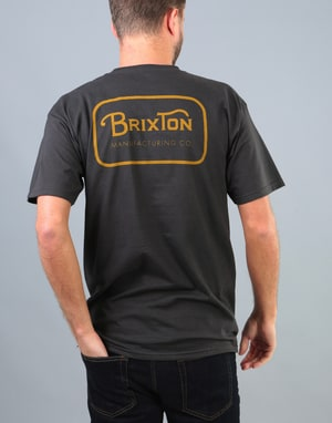 Brixton Grade T-Shirt - Washed Black/Gold