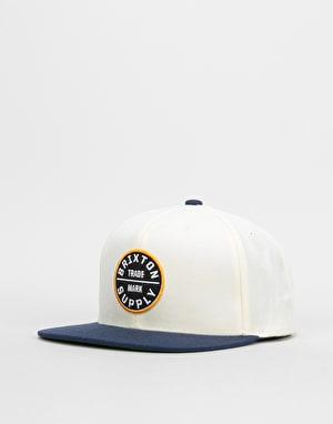 Brixton Oath III Snapback Cap - Off White/Navy/Gold