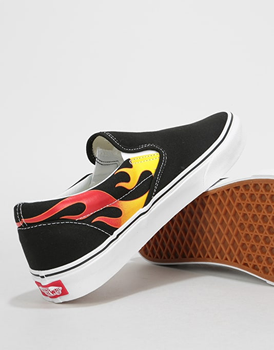 Vans Classic Slip-On Skate Shoes - (Flame) Black/Black/True White