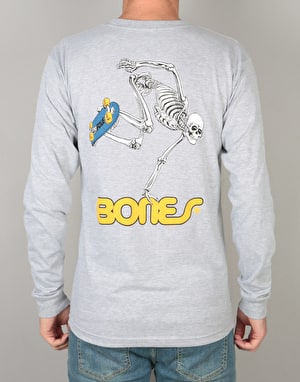 Powell Peralta Skateboard Skeleton L/S T-Shirt - Heather Grey