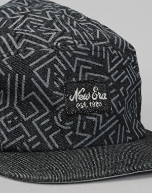 New Era Denim Print 5 Panel Cap - Black/Blue