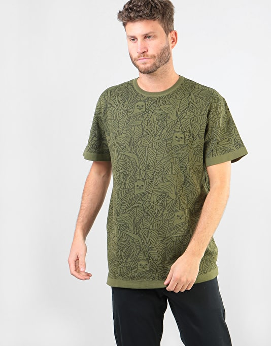 Ripndip Nermal Leaf Pattern Jacquard Knit T Shirt Olive All Over