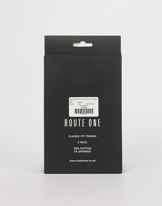 Route One Classic Boxer Shorts 2 Pack - Heather Grey