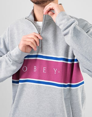 Obey Palisade Mock Neck Zip - Heather Grey
