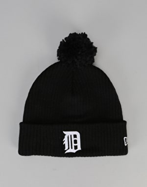 New Era MLB Detroit Tigers Lightweight Felt Bobble Beanie - Black
