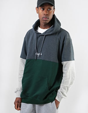 Magenta Script Pullover Hoodie - Dark Heather/Green