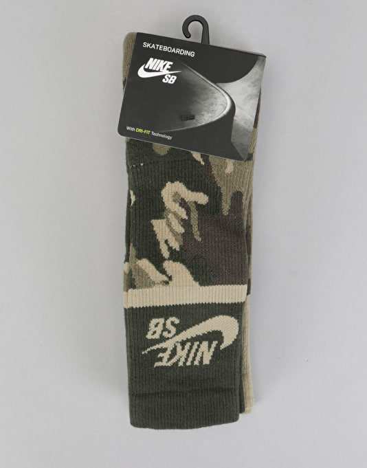 Nike SB Energy Crew Socks 2 Pack - Multi/Green Camo