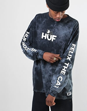 HUF x Felix The Cat Felix Crystal Wash L/S T-Shirt - Black