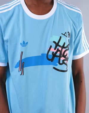 Adidas x Hélas T-Shirt - Clear Blue/White