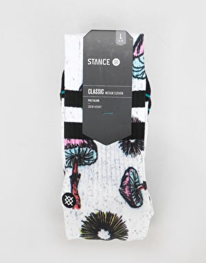 Stance Silly Shrooms Classic Crew Socks - White