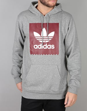 Adidas Solid BB Pullover Hoodie - Core Heather/Collegiate Burgundy