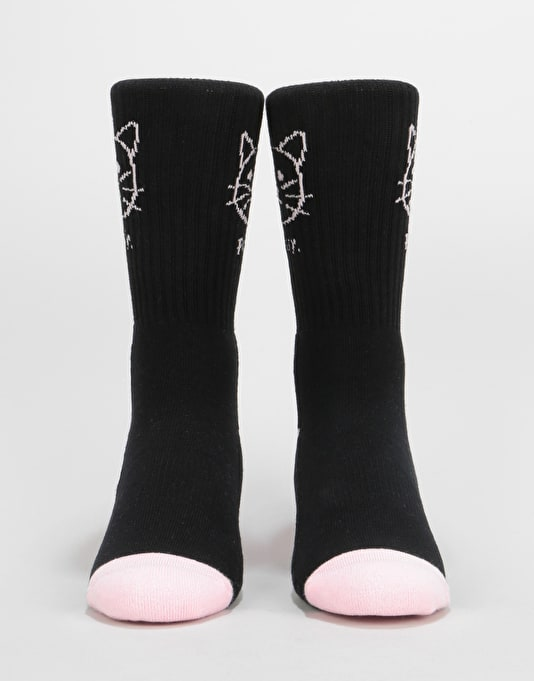 Route One Pussy Crew Socks - Black/Pink