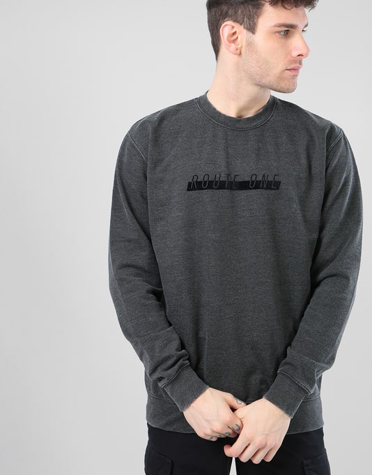 Route One Tonal Racer Sweatshirt - Washed Black