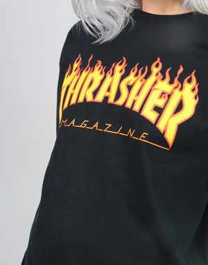 Thrasher Womens Flame Logo Oversized L/S T-Shirt - Black