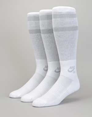 Nike SB Crew Socks 3 Pack - White/Wolf Grey