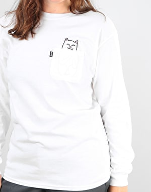RIPNDIP Womens Lord Nermal Oversized L/S T-Shirt - White