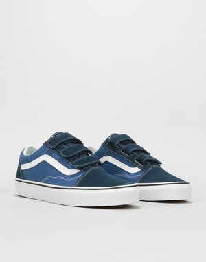 Vans Old Skool V Skate Shoes - (Suede/Canvas) Dress Blues/True Navy