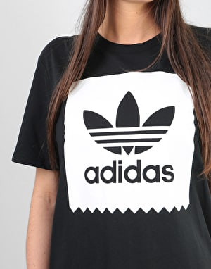 Adidas Womens Solid Blackbird Oversized T-Shirt - Black/White