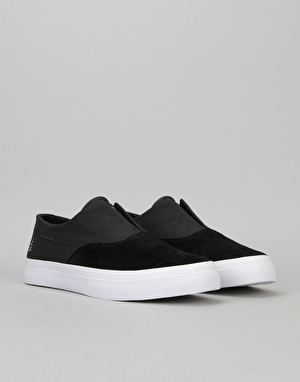 HUF Dylan Slip On Pro Skate Shoes - Black/Black/White