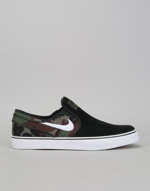 Nike SB Zoom Stefan Janoski Slip Skate Shoes - Black/White-Multi-Color