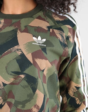 Adidas Womens Brushed Camo Oversized L/S T-Shirt - Camo