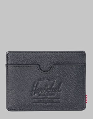 Herschel Supply Co. Charlie Leather RFID Card Holder - Black Pebbled