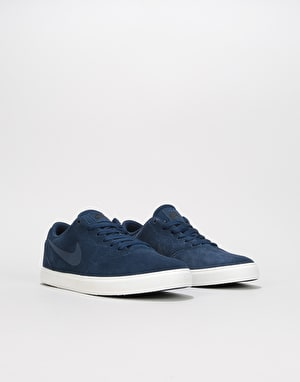 Nike SB Check Suede Boys Skate Shoes - Navy/Navy/Black