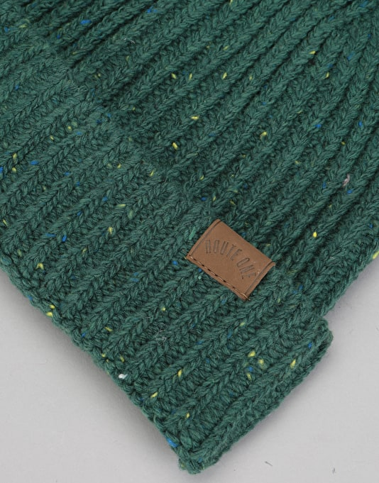 Route One Fleck Beanie - Forest Green/Multi Fleck