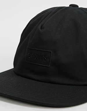 Brixton Rift Medium Profile Snapback Cap - Black