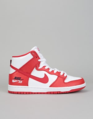 Nike SB Zoom Dunk High Pro Skate Shoes - University Red/Uni Red-White