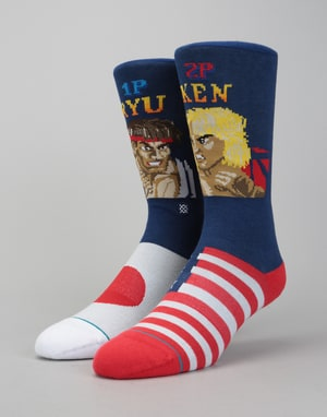 Stance x Street Fighter II Ryu VS Ken 200 Needle Socks - Multi
