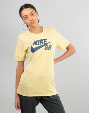 Nike SB Womens Oversized Logo T-Shirt - Lemon Wash/Thunder Blue