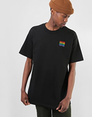 Pass Port Official Repeat Embroidery T-Shirt - Black
