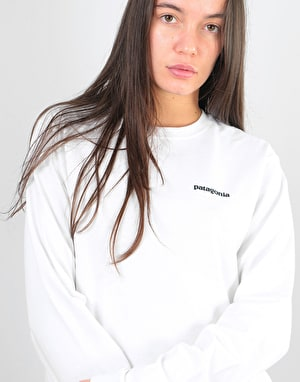 Patagonia Womens L/S P-6 Logo Oversized T-Shirt - White