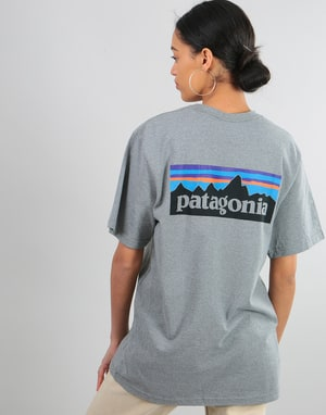 Patagonia Womens P-6 Logo Oversized T-Shirt - Gravel Heather