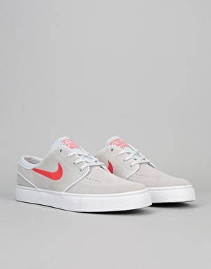 Nike SB Zoom Stefan Janoski Skate Shoes - Pure Platinum/University Red