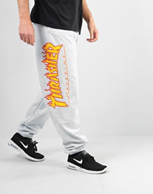 Thrasher Flame Logo Sweatpants - Grey