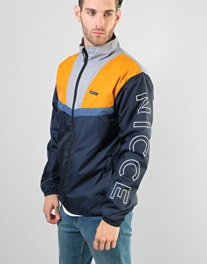 Nicce Motion Zip Through Jacket - Deep Navy/Majorca Blue/Golden Yellow