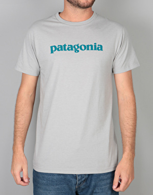 Patagonia Text Logo Cotton Poly T-Shirt - Drifter Grey