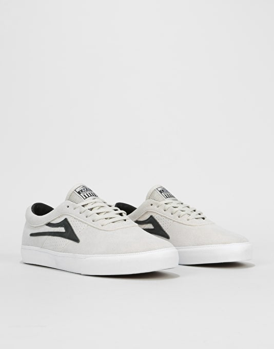 Lakai Sheffield Skate Shoes - White/Black Suede