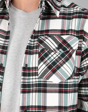Adidas Tartan Flannel L/S Shirt - Off White/Black/Green/Night Indigo