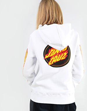 Santa Cruz Womens Flame Dot Pullover Hoodie - White